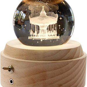 Wooden Music Box,3D Crystal Ball Music Box Clover